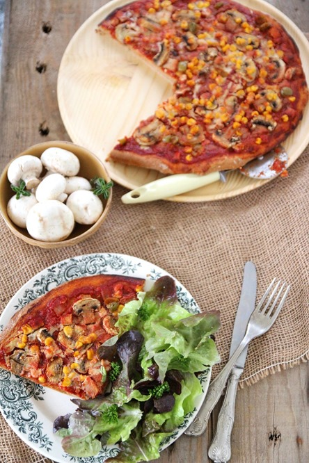 Pizza maïs champignon vegan
