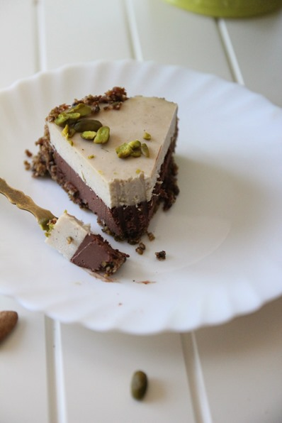 Gâteau cru chocolat noisette chocolat blanc