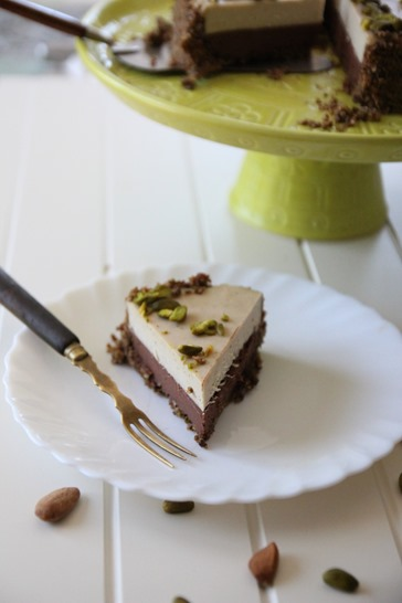 Gâteau cru choco noisette crème de chocolat blanc